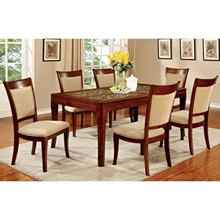 Furniture of America Creekmore 7 Piece Dining Table Set with Woven Table Top Design