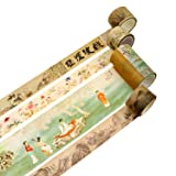 Washi Masking Tape Set Decorative Craft Tape Collection for DIY and Gift Wrapping with Colorful Designs and Patterns (Chinese Art, 4 Pcs) (Color: Chinese Art, Tamaño: 4 Pcs)