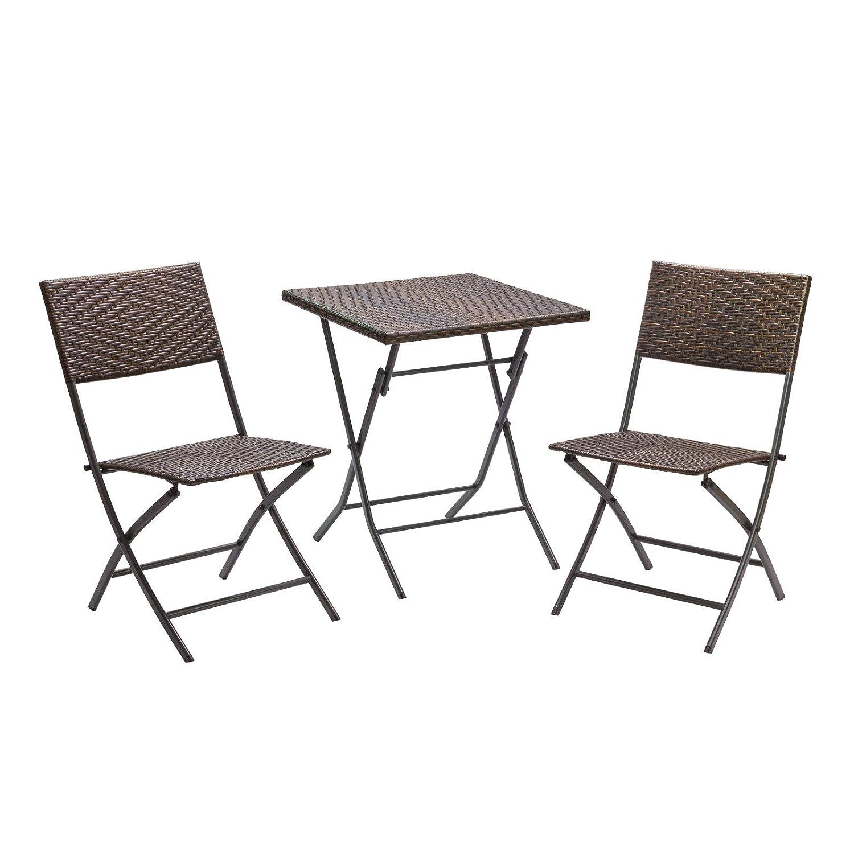 Balkon Set 3tlg - 2 Stühle 1 Tisch Polyrattan Garnitur zusammenklappbar