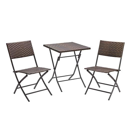 Balkon Set 3tlg - 2 Stuhle 1 Tisch Polyrattan Garnitur zusammenklappbar