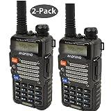 Baofeng 2-Pack UV-5R V2+ *UV-5R V2+ Plus* Dual-Band 136-174/400-480 MHz FM Ham Two-way Radio, Improved Stronger Case, Enhanced Features - Black 2 pack
