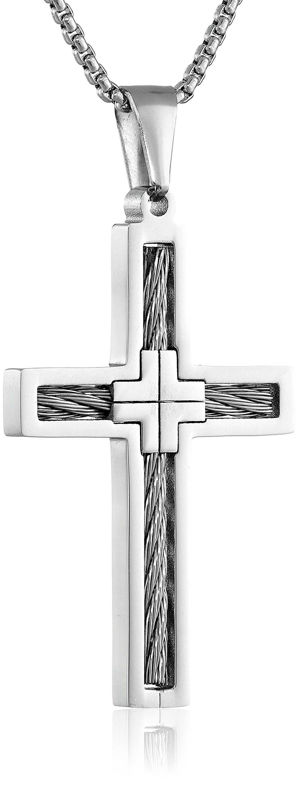 Men s stainless steel cable cross pendant necklace