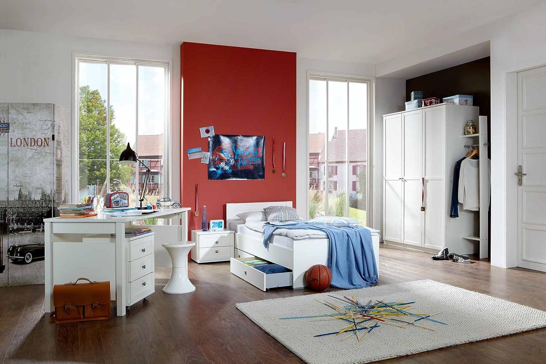 Jugendzimmer 3-tlg. in Alpinweiß, Kleiderschrank Breite: 135, Bett 90 x 200 cm, Schreibtisch Breite: 140 cm