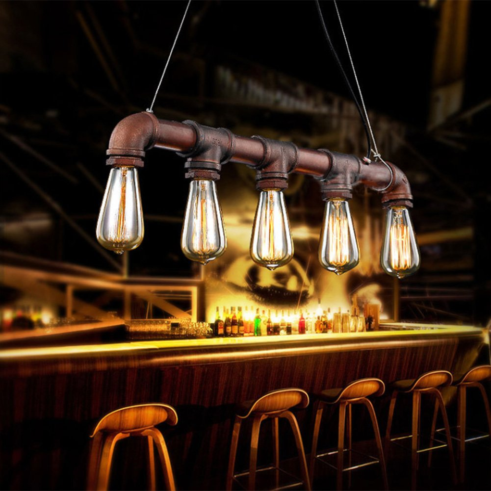 Fuloon Vintage Pendant Vintage Rustic Industrial Steampunk Straight Tube Water Pipe Pendant Hanging Ceiling Bar Light Island Chandelier(bulb not included)