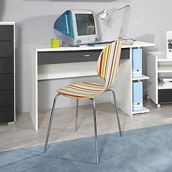 AVANTI TRENDSTORE - Schreibtisch aus Grau-Metallic und weiß Dekor, ca. 120x75x64cm