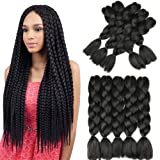 Synthetic Hair Extensions Original Jumbo Braids Hair Extension 5pcs Pure Black Color 24inch 100g/pc For Twist Box Braiding Hair (Color: Natural Black, Tamaño: 24inch)