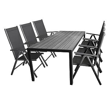 Gartengarnitur Gartentisch Aluminium, Polywood Tischplatte 205x90cm + 6x Hochlehner, 2x2 Textilenbespannung Schwarz, Ruckenlehne 7-fach verstellbar, Aluminiumgestell Anthrazit, klappbar
