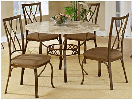 5 Piece Round Dining Set With Diamond Back Chairs