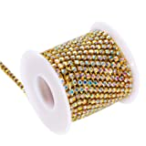 BLINGINBOX Rhinestones Chain 10 Yards SS16/4mm Crystal AB Glass Sew On Rhinestones Cup Chain With Gold Bottom Sew On Trim(ss16-4mm, Crystal AB-Gold Bottom) (Color: Crystal AB -Gold Bottom, Tamaño: ss16)
