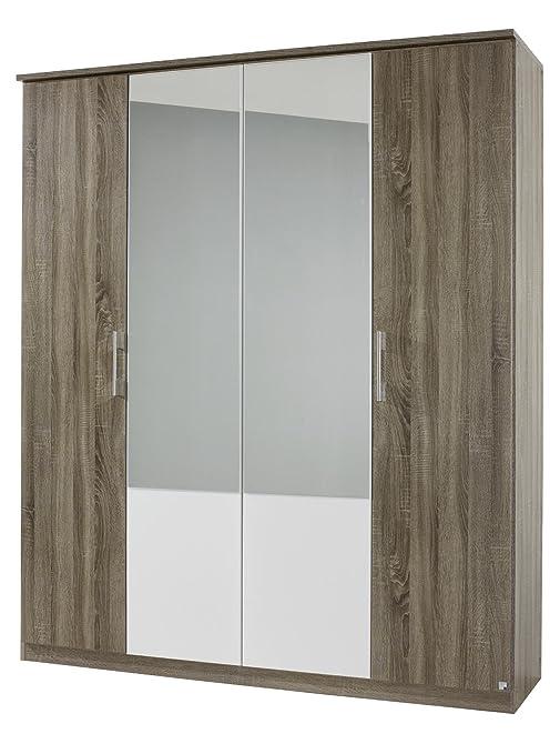 Rauch AJ087.086R Drehturenschrank Arles, 4-turig, 2 Spiegelturen, 181 x 212 x 56 cm, Dekor-Druck Eiche Havanna, Absetzungen alpinweiß