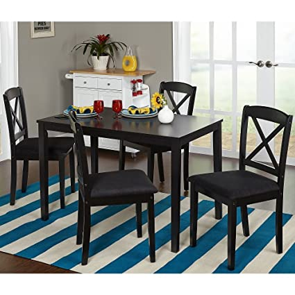 Simple Living Black 5-piece Crossback Dining Set One Table and Four Upholstered Chairs