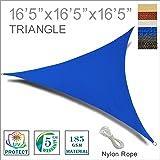 SUNNY GUARD 16'5'' x 16'5'' x 16'5'' Blue Triangle Sun Shade Sail UV Block Outdoor Patio Garden