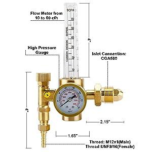 HighFree Argon Flowmeter Regulator for Welding CGA580 Miller Lincoln MIG TIG, CO2 Flowmeter 10 to 60 CFH, Accurate Gauge 0 To 4000 Psi Pressure for Welder Tank