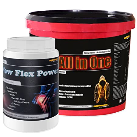 All in One 2,6kg Cappuccino+Flex Power 400g Orange! Whey Protein Kohlenhydrate Anabolika Eiweiß Starke Gelenke Gelenkknorpel Vitamin C Kollagen Glucosamin Whey Gainer Eiweißshake Testosteron Anabol Kraft Masse