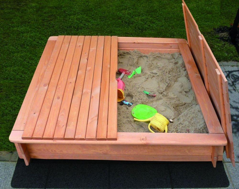 Sandkasten Modell TESSA 1 x 1 m imprägniertes Holz+Abdeckung Gartenspielzeug