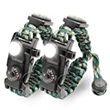 LeMotech 21 in 1 Adjustable Paracord Survival Bracelet, Tactical Emergency Gear Kit Includes SOS LED Flashlight, Bigger Compass, Thermometer, Rescue Whistle and Fire Starter (Mountain Camo (2pcs)) (Color: Mountain Camo (2pcs))