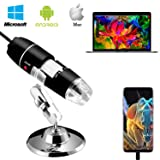 Digital Microscope,Z-Roya 40 to 1600x Magnification Endoscope, 2MP 8 LED USB 2.0 Digital Microscope, Mini Camera with Metal Stand, Compatible with Mac Window 7 8 10 Android Linux