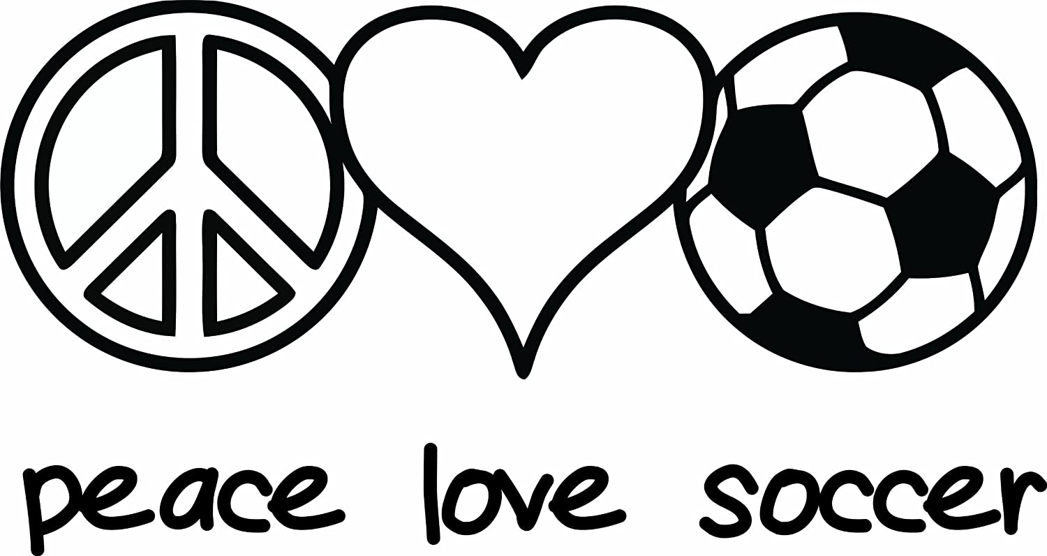 design with vinyl design 247 peace love soccer picture art home decor sticker vinyl wall decal 12 inch by 20 inch black amazonin home improvement - Girl Soccer Player Coloring Pages
