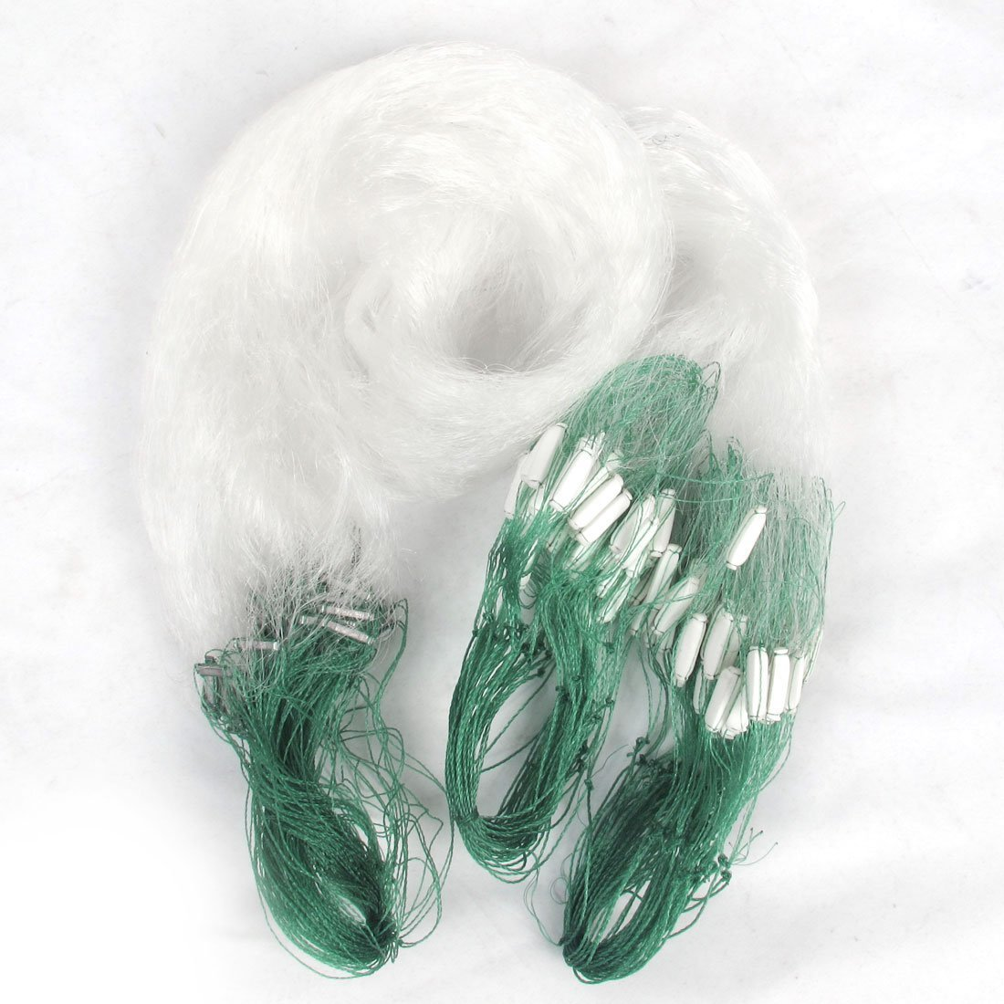 TOOGOO(R) 25m Clear White Green Monofilament Fishing Fish Gill Net w Float