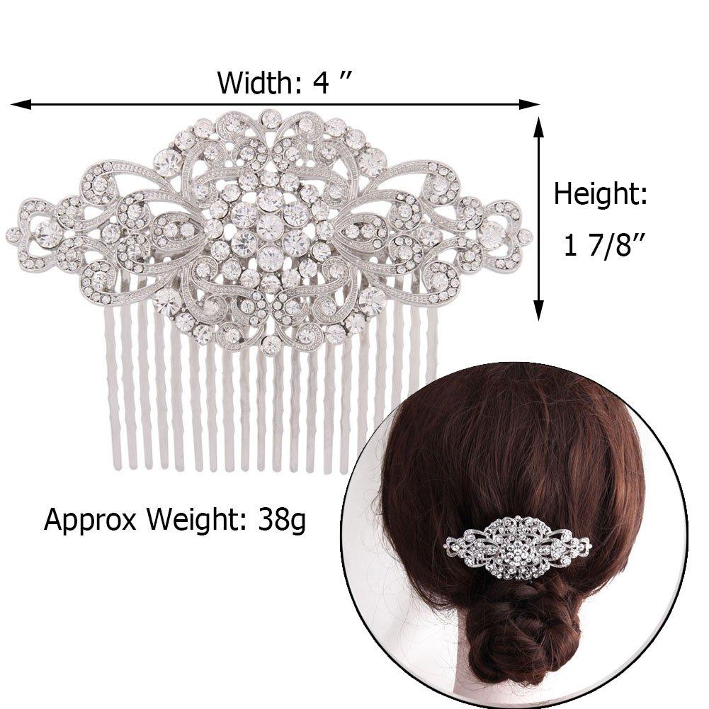 Fairy Moda Rhinestone Bridal Hair Comb Silver Wedding Bridesmaid Gift Vintage Hair Piece 3