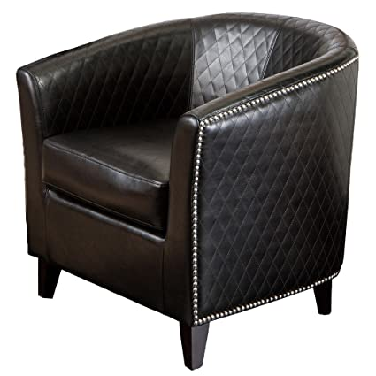 Marion Black Leather Barrel Armchair