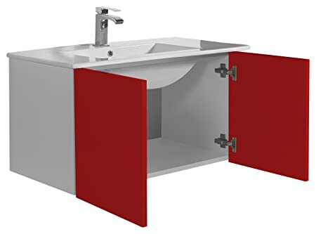aleghe Eris Bathroom Cabinet, Red Gloss