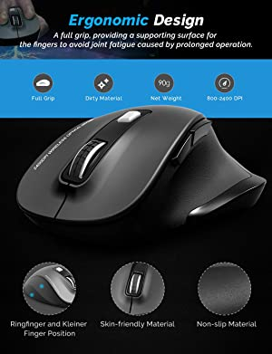 Wireless Mouse, RATEL 2.4G USB Wireless Ergonomic Mouse Computer Mouse 6 Buttons Laptop Mouse USB Mouse with Nano Receiver 2400 DPI 5 Adjustment Levels Cordless Wireless Mice for Windows-Black (Color: Black)