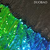 DUOBAO Sequin Fabric by The Yard Green to Black Emboridery Flip Up Sequin Fabric 5 Yards Mermaid Reversible Sequin Fabric Material for Sewing (Color: Reversible Green to Black, Tamaño: 5 Yards)