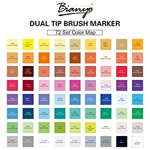 Bianyo Brush Marker Pen Set-Soft Brush & Broad Tip (72 Color.) (Color: 72 Color.)