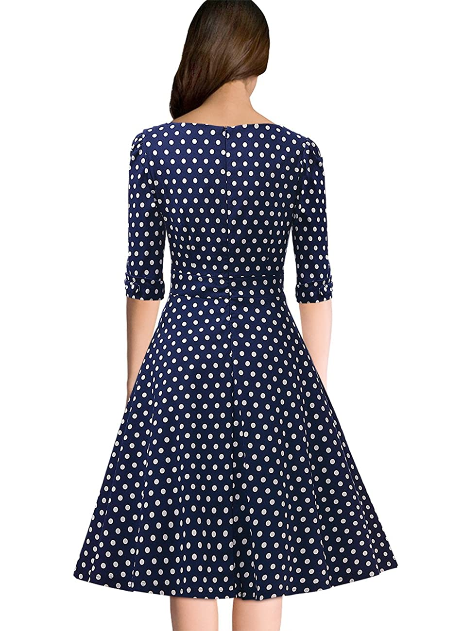 Miusol Women's Retro 1920'S V Neck Polka Dot Half Sleeve Evening Party Swing Dress 1