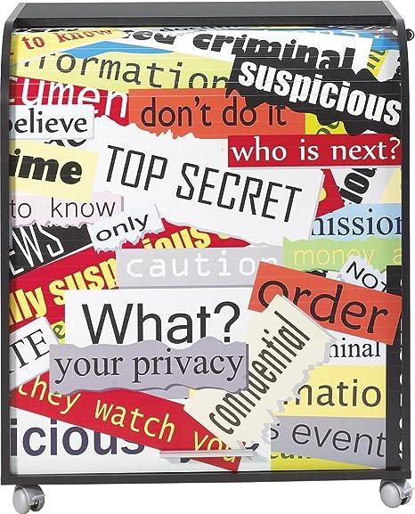 Simmob MUST095NO300 Top Secret 300 Meuble Informatique à Roulettes avec Rideau Imprimé Bois Noir 53,2 x 79,2 x 93,8 cm