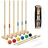 LULULION Croquet Set with Extra Large Carrying Bag - Six Players, Durable Hardwood Material, Prefect for Backyard BBQ, Party or Family Gathering