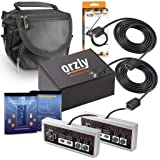 Orzly Essentials Accessory Pack for Nintendo NES Classic (NES Mini) - Accessories Bundle Includes 2x Control Pads, 2x Cable Extension Leads for Controllers and 1x Travel Bag (Console Not Included) (Color: Grey Controllers - Black Cables - Black Travel Bag)