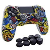 PS4 Controller Grip,Hikfly Skin Silicone Gel Controller Cover Case Protector Compatible for PS4/PS4 Slim/PS4 Pro Controller (1x Controller Cover with 8 x FPS Pro Thumb Grip Caps)(White Bird) (Color: White Bird, Tamaño: PS4 Print Style)
