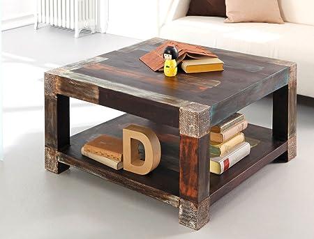 Couchtisch Punjab 80x80x45 cm Akazie Metall Sofatisch Tisch Beistelltisch Used Look Vintage