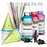Hawaiian Shaved Ice 3 Flavor Fun Pack of Snow Cone Syrup | Kit Features 25 Snow Cone Cups, 25 Spoon Straws, 3 Black Bottle Pourers & Shaved Ice Syrup Flavors - Cherry, Grape, Blue Raspberry (Tamaño: 3 Flavor Fun Pack)