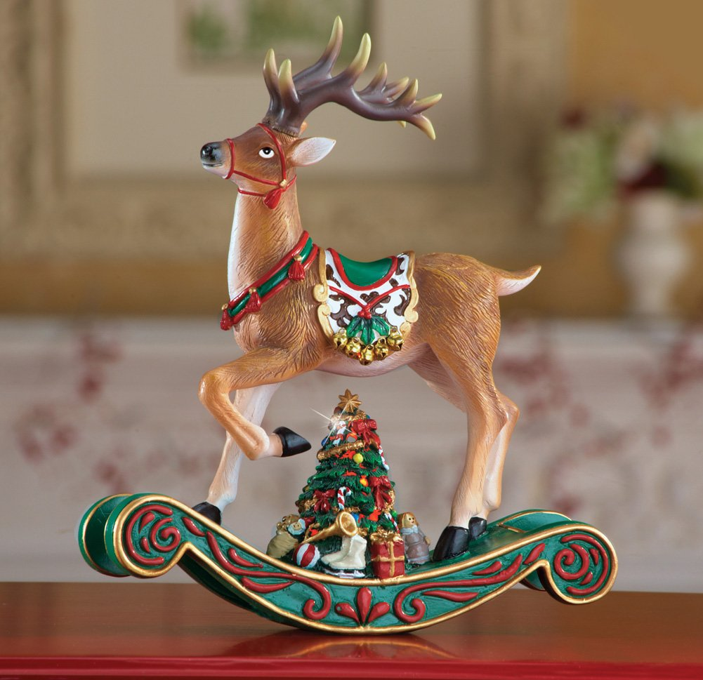 Elegant Rocking Reindeer Decor Christmas Centerpiece Display Table Top Accent Holiday Decoration