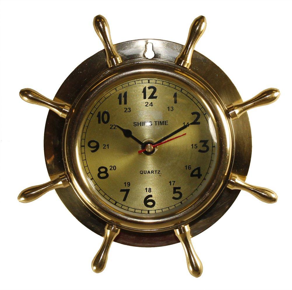 Welcome aboard boat ships life ring clock - 8 Brass Ship Wheel Clock Nautical Boat Decor