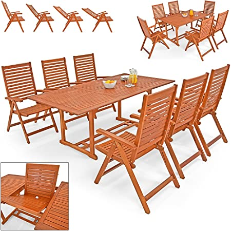 "Wooden Garden Furniture Set Patio Dining Table and Chairs Set ""Unikko"" Made Of Solid Eucalyptus Hardwood 6 Seater Outdoor"