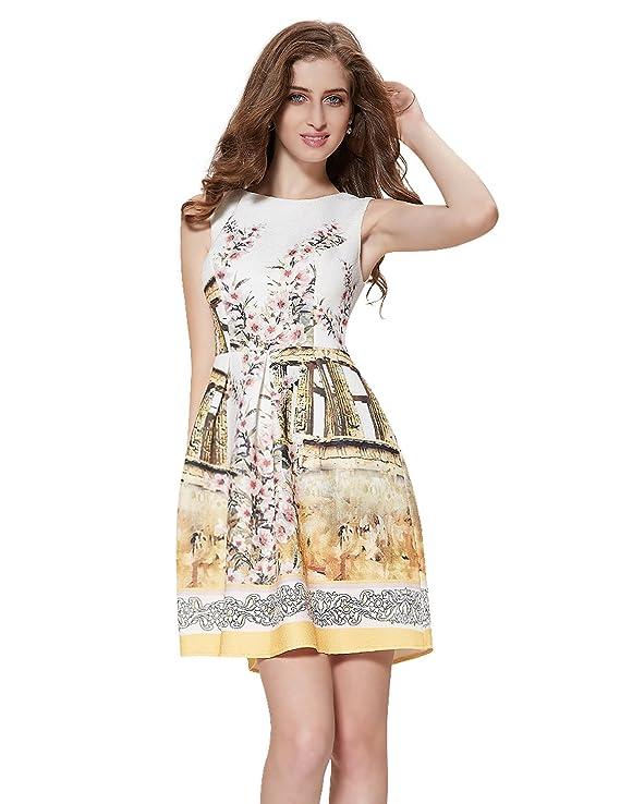 Alisa Pan Sleeveless Fit and Flare Short Printed Casual Dress 05202
