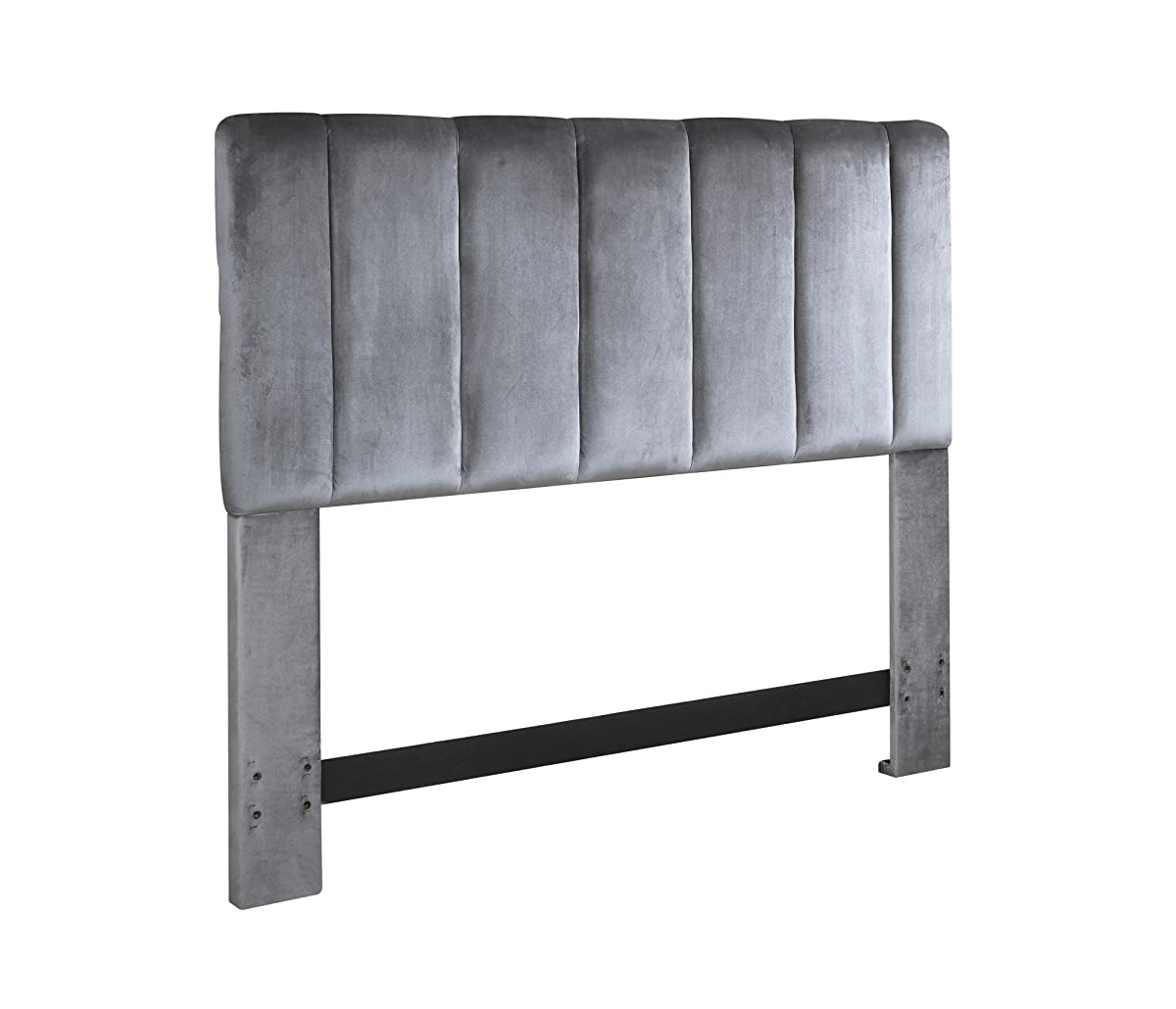 Iconic Home FHB9059-AN Uriella Headboard Velvet Upholstered Vertical Striped Modern Transitional, Full/Queen, Grey