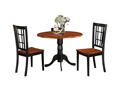 East West Furniture DLNI3-BCH-W 3-Piece Kitchen Table Set, Black/Cherry Finish