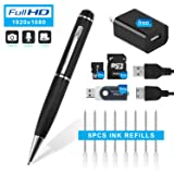 Hidepoo Hidden Camera Pen, 1080P HD Mini Portable Came With Video & Photo Mode Multifunction DVR Cam with 8 Black Refills  and 16GB SD card (Color: silver)
