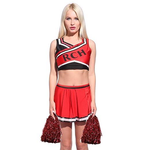 Damen Herren Cheerleader Kostüm Cheerleader Boy Cheerleading Gogo Rot Kleid