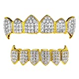 18k Gold Plated Vampire Fangs Two-Tone Grillz Set CZ Iced-Out Bling Hip Hop Fang Teeth Grills