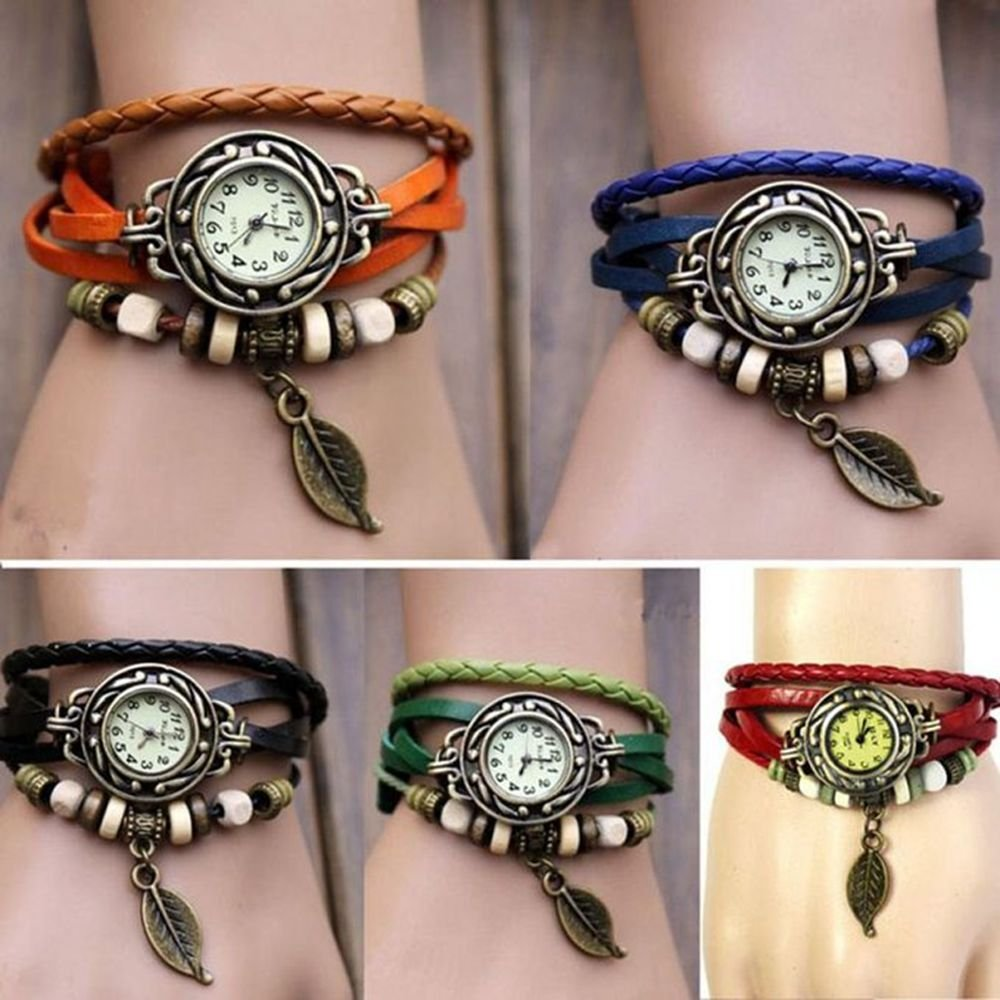 Yunan Pack of 6 Women's Watches Vintage Wrap Around Bead Leaf Bracelet Quartz Wholesale Set 3