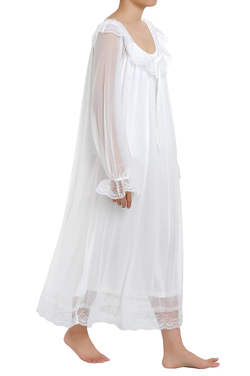 Latuza Women's Long Sheer Vintage Victorian Nightgown with Sleeves 2