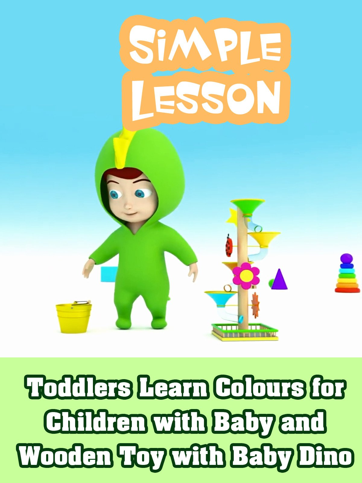 Toddlers Learn Colours for Children with Baby and Wooden Toy with Baby Dino