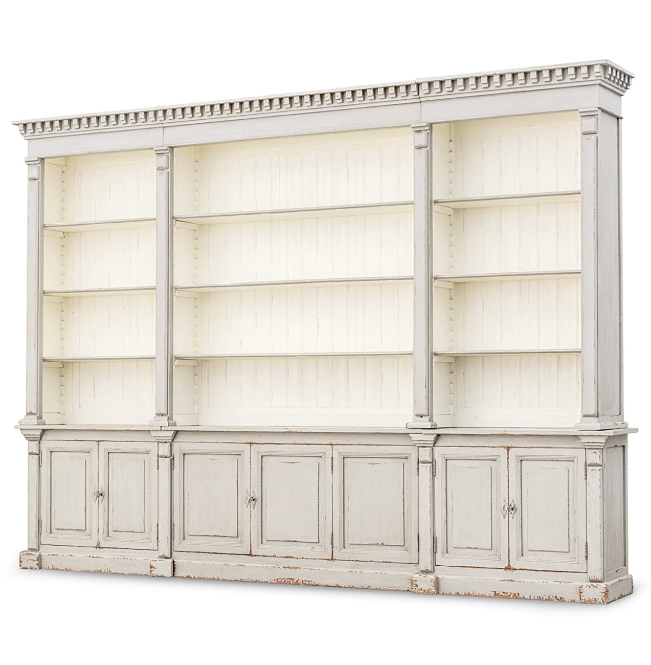 Laundress French Country Distressed Grey Large Display Bookcase 1