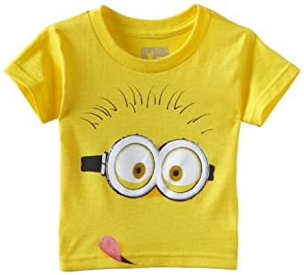 Despicable Me Little Boys' Tongue Shirt, Yellow, Small-2T